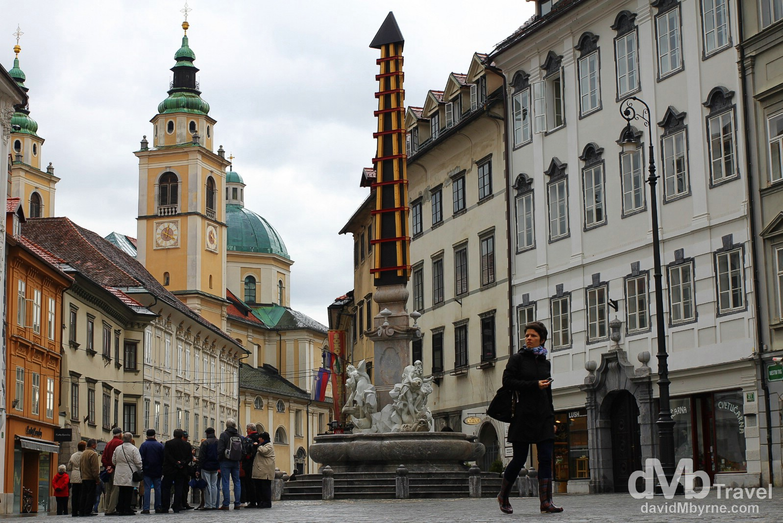 Mestni trg in the medieval Old Town part of Ljubljana, Slovenia. March 23rd, 2014.