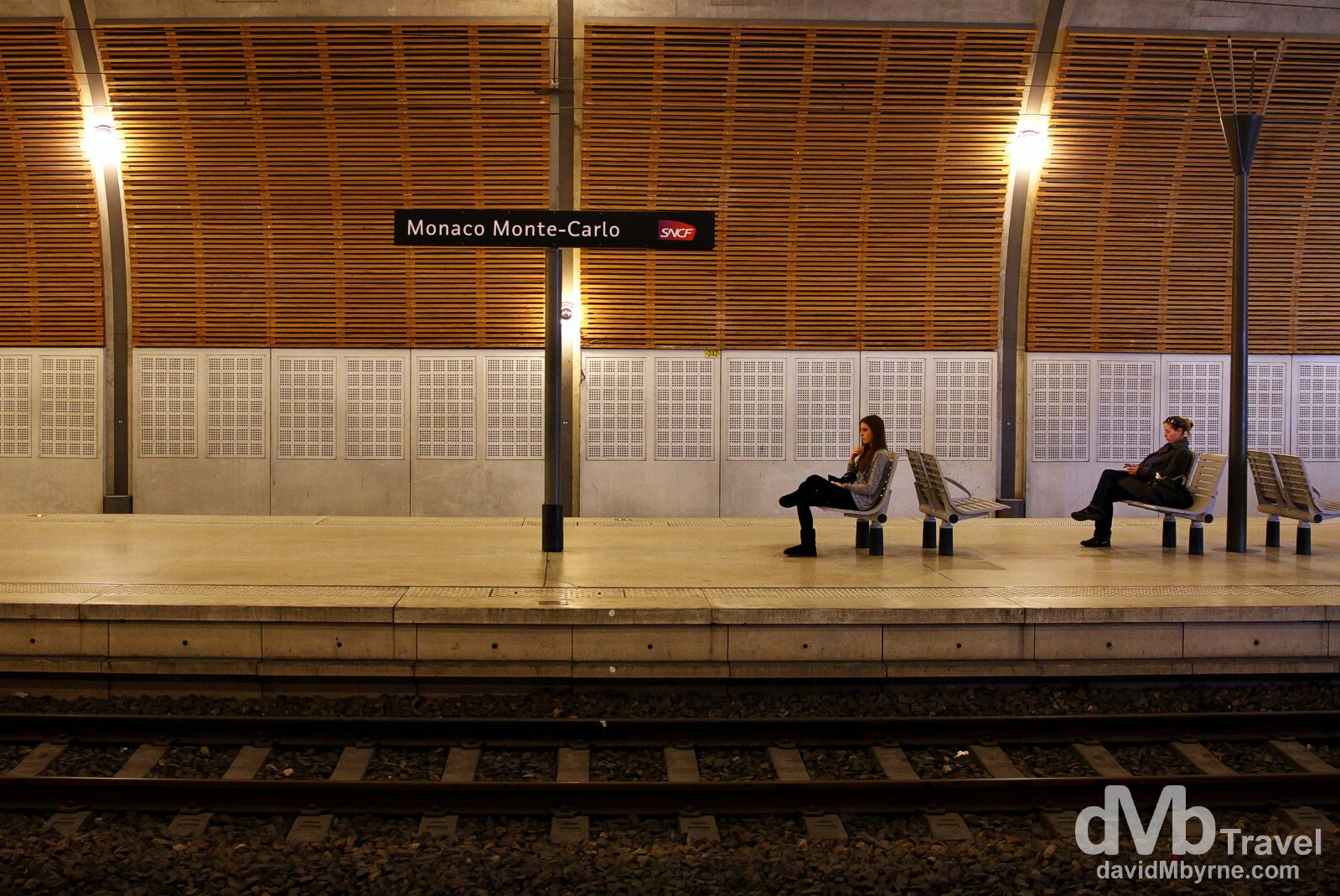 On the platform of the subterranean train station platform in Monaco. March 14th, 2014.
