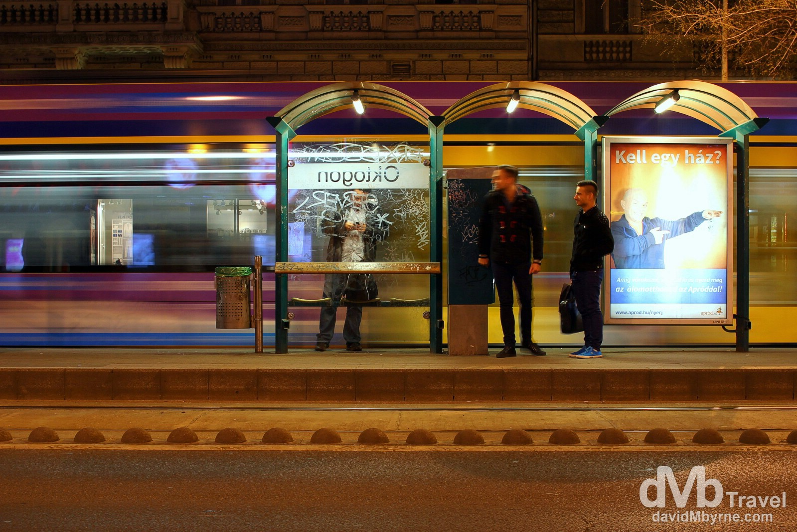 Waiting for the tram on Terez Boulevard in Budapest, Hungary. March 25th, 2014.