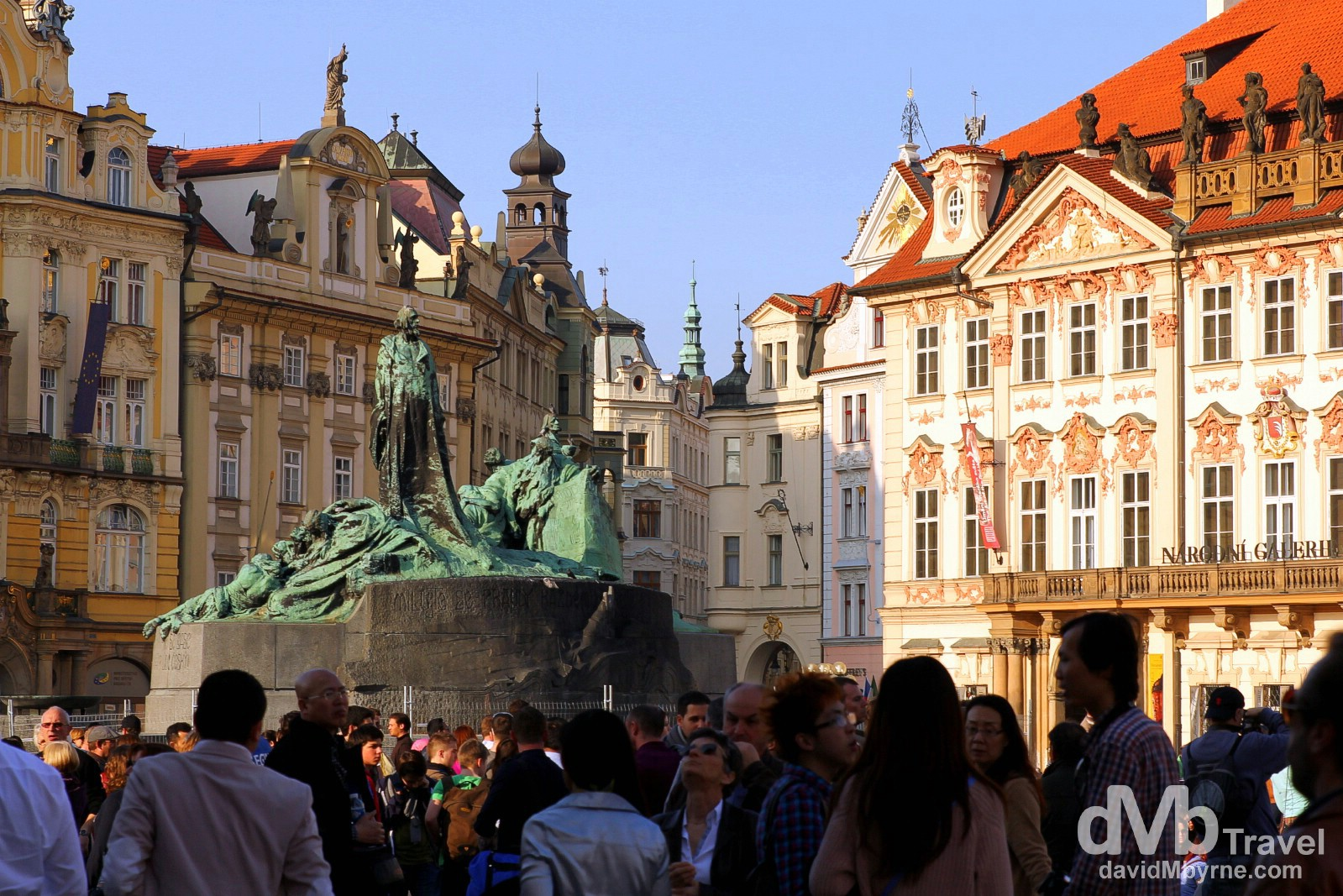 The Jan Hus statue, & loads of people, in Old Town Square, Prague, Czech Republic. March 30th, 2014.