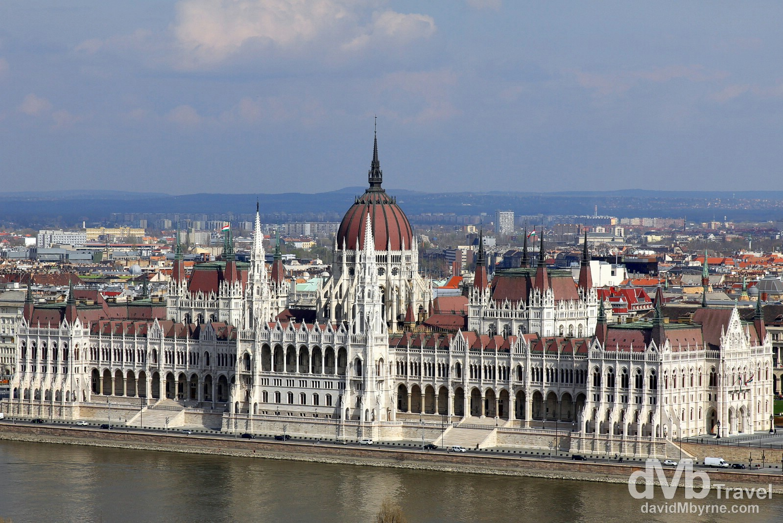 Parliament Building, one of Europe's most fabulous buildings, on the Pest bank of the Danube River as seen from Fishermans Bastion on the hills of Buda. Budapest, Hungary. March 26th, 2014.