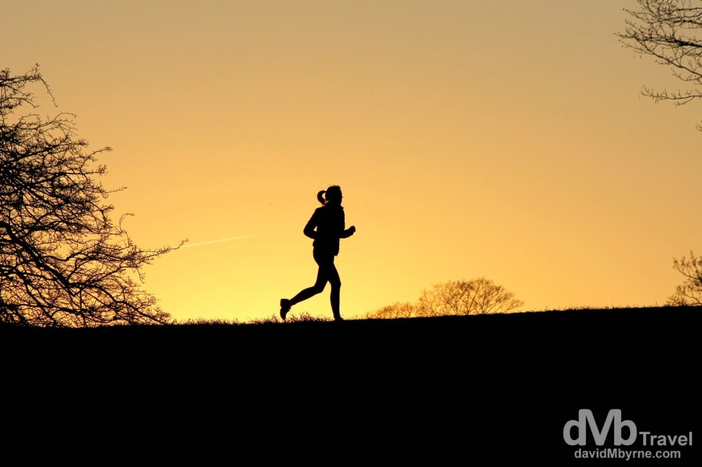 Running at sunset in Kastellet, Copenhagen, Denmark. March 12th, 2014.