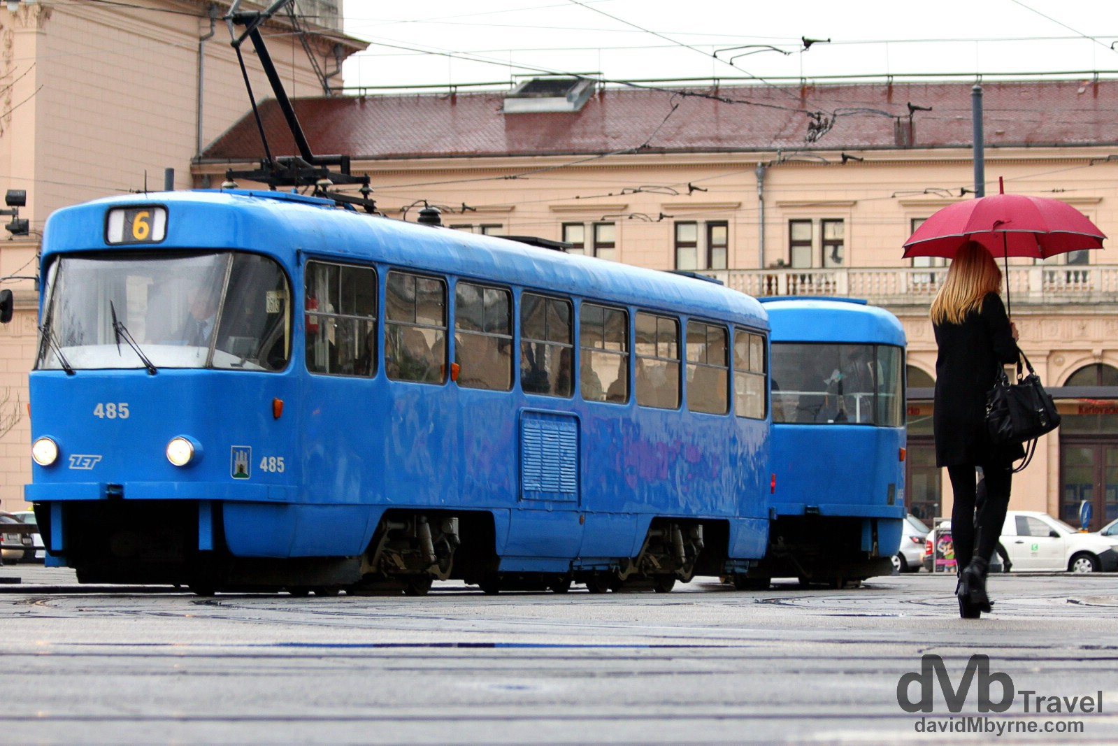 The number 6 tram outside the main railway station in Zagreb, Croatia. March 24th, 2014.