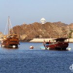 Traditional dhows in Mutrah Port, Muscat's main port area. Muscat, Oman. April 26th, 2014.
