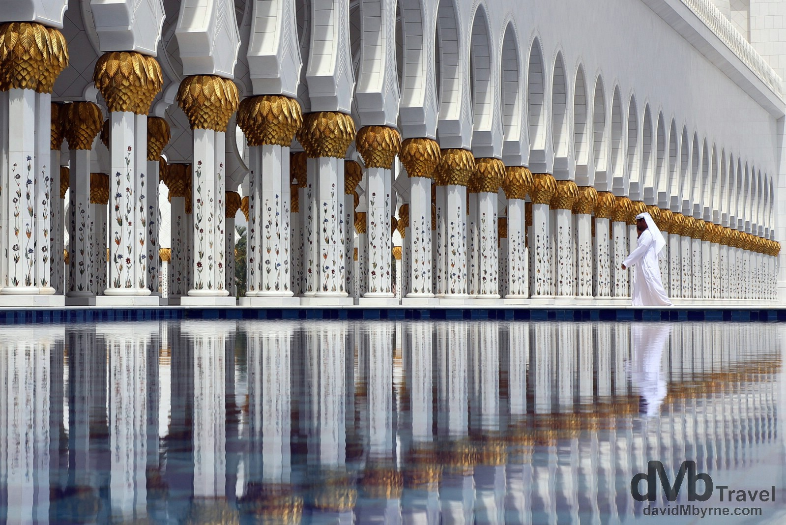 Reflections and repetition. Sheikh Zayed Grand Mosque, Abu Dhabi, UAE. April 23rd, 2014.