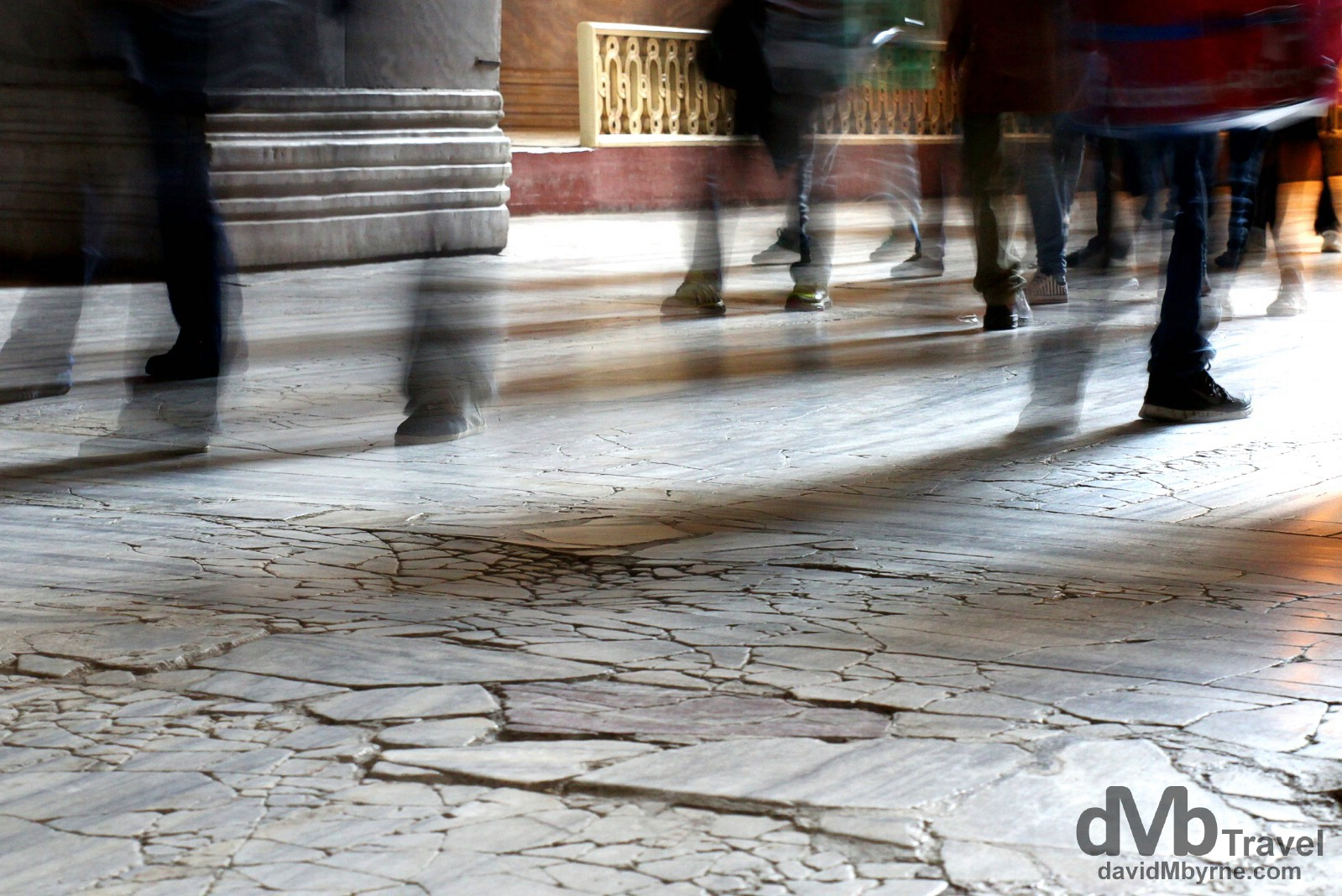 1477-year-old cracks in the marble floor of the Aya Sofya in Istanbul, Turkey. April 10th, 2014.