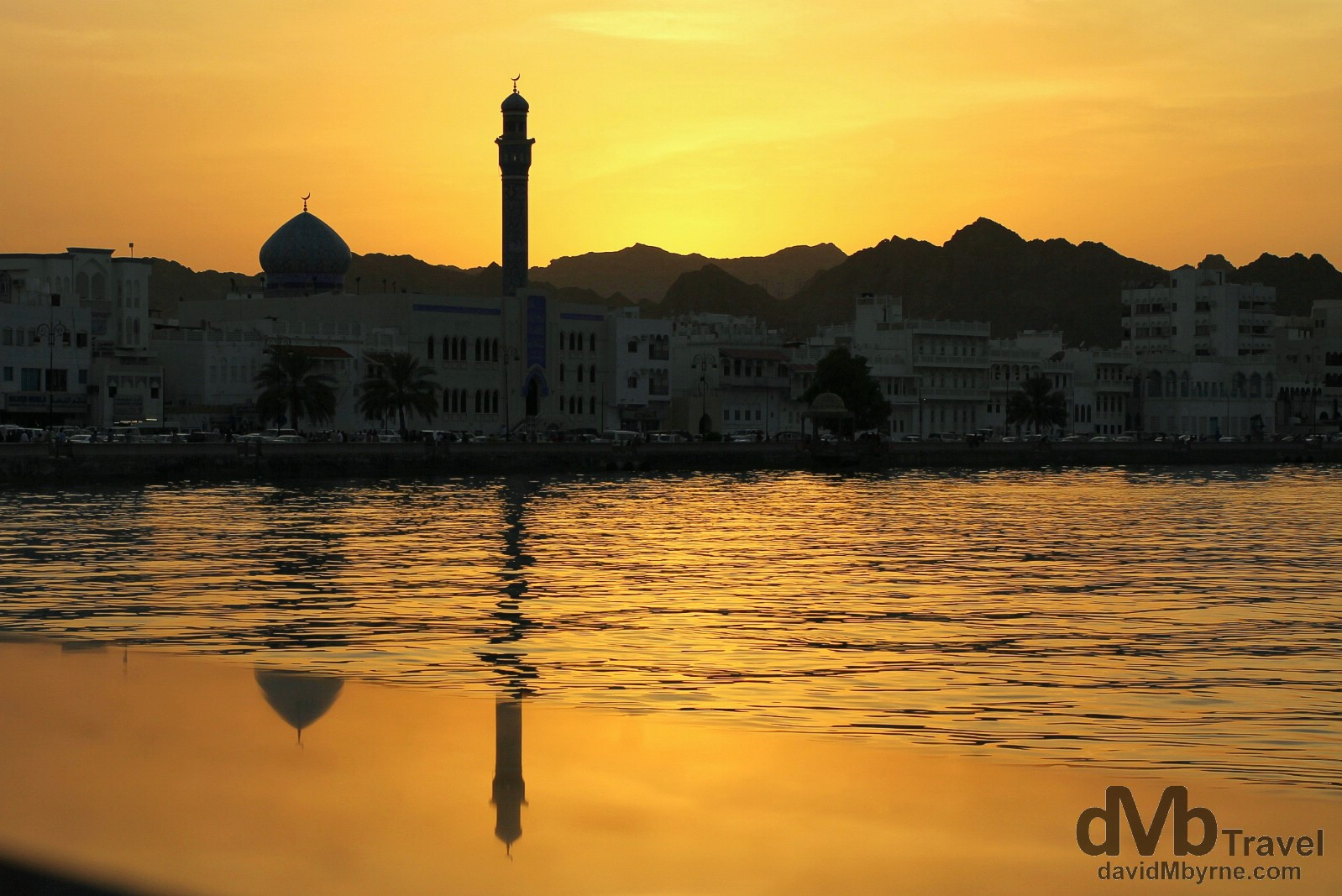 Sunset on Mutrah Corniche in Muscat, Oman. April 25th, 2014.