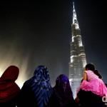 Enjoying the Dancing Fountain Show at the foot of the Burj Khalifa in Downtown Dubai, UAE. April 20th, 2014.