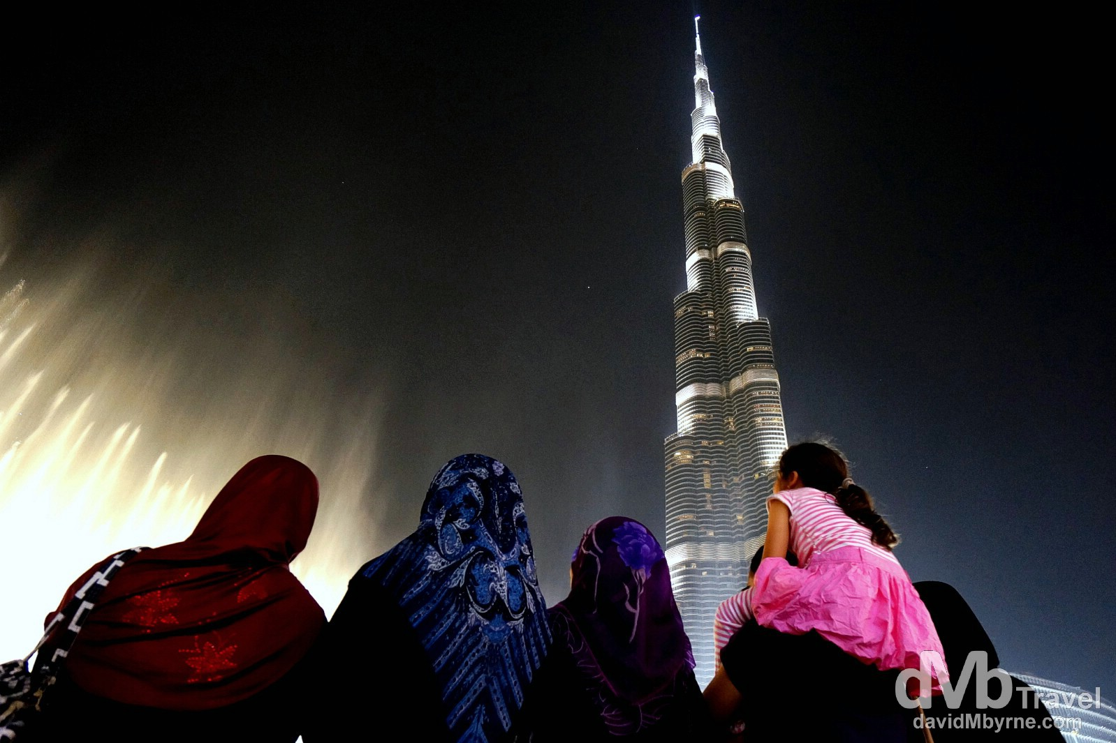 Enjoying the Dancing Fountain Show at the foot of the Burj Khalifa in Downtown Dubai, UAE. April 20th, 2014.