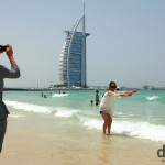 Pictures in front of the 7-star Burj Al Arab from Jumeirah Beach Park, Dubai, UAE. April 14th, 2014.