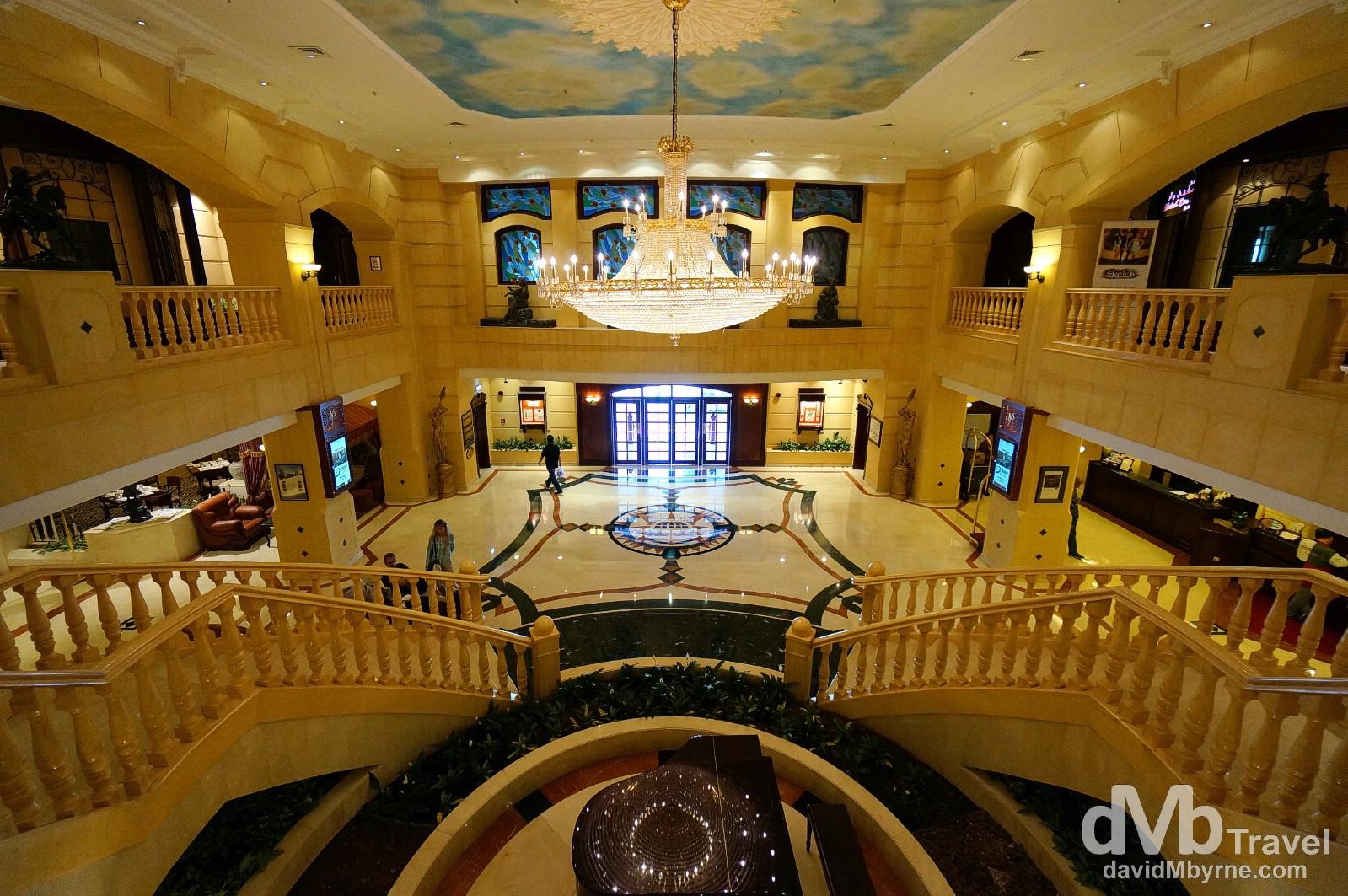 The main foyer of the 5-star Metropolitan Palace in Deira, Dubai, UAE. April 18th, 2014.