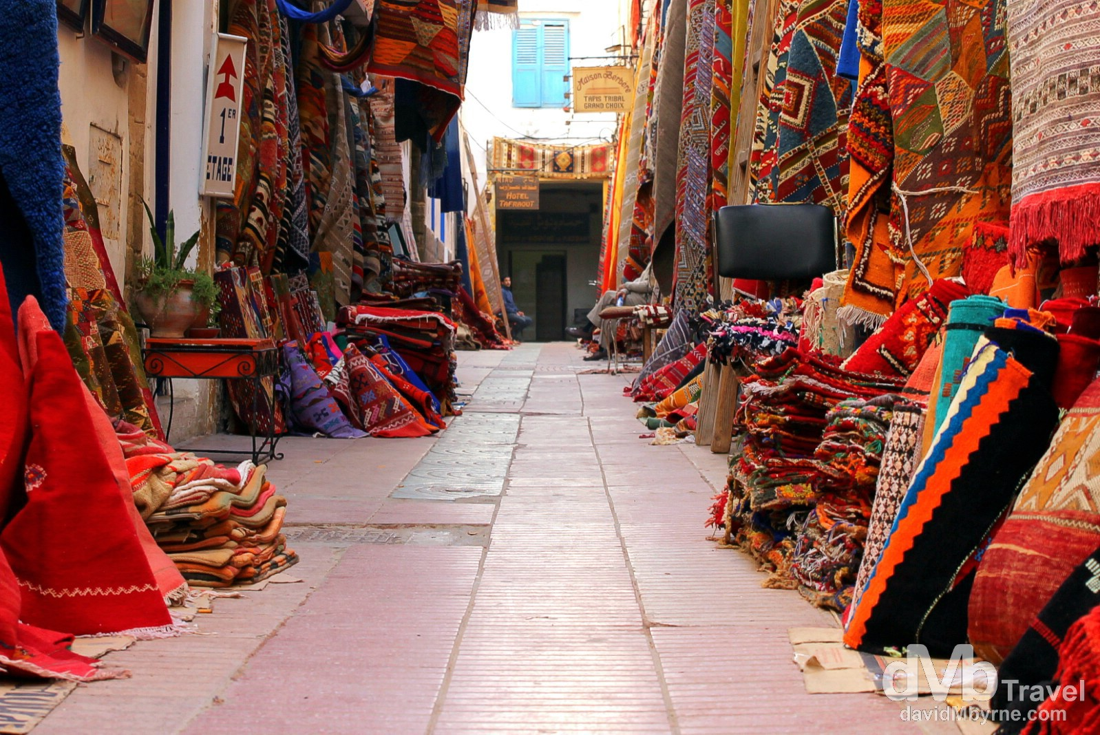A lane selling carpets in the labyrinth medina in Essaouira, Morocco. May 3rd, 2014.