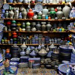 A well laden ceramic shop in the Henna Souk of Fes el Bali, Fes, Morocco. May 28th, 2014.