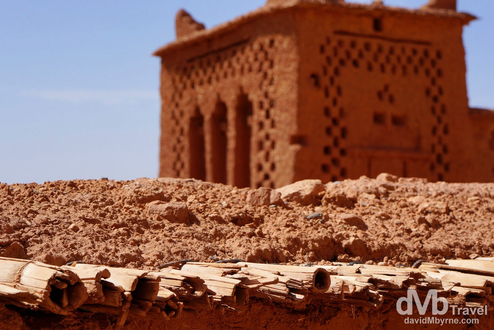 A section of the walls of the Ait Benhaddou, southern Morocco. May 14th, 2014.