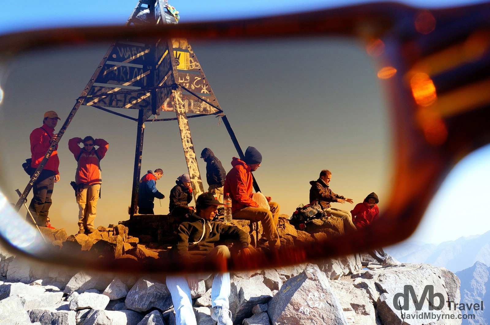 Trekkers at the 4,176-metre summit of Jebel Toubkal, the highest point in Northern Africa. Jebel Toubkal, High Atlas, central Morocco. May 12th, 2014.