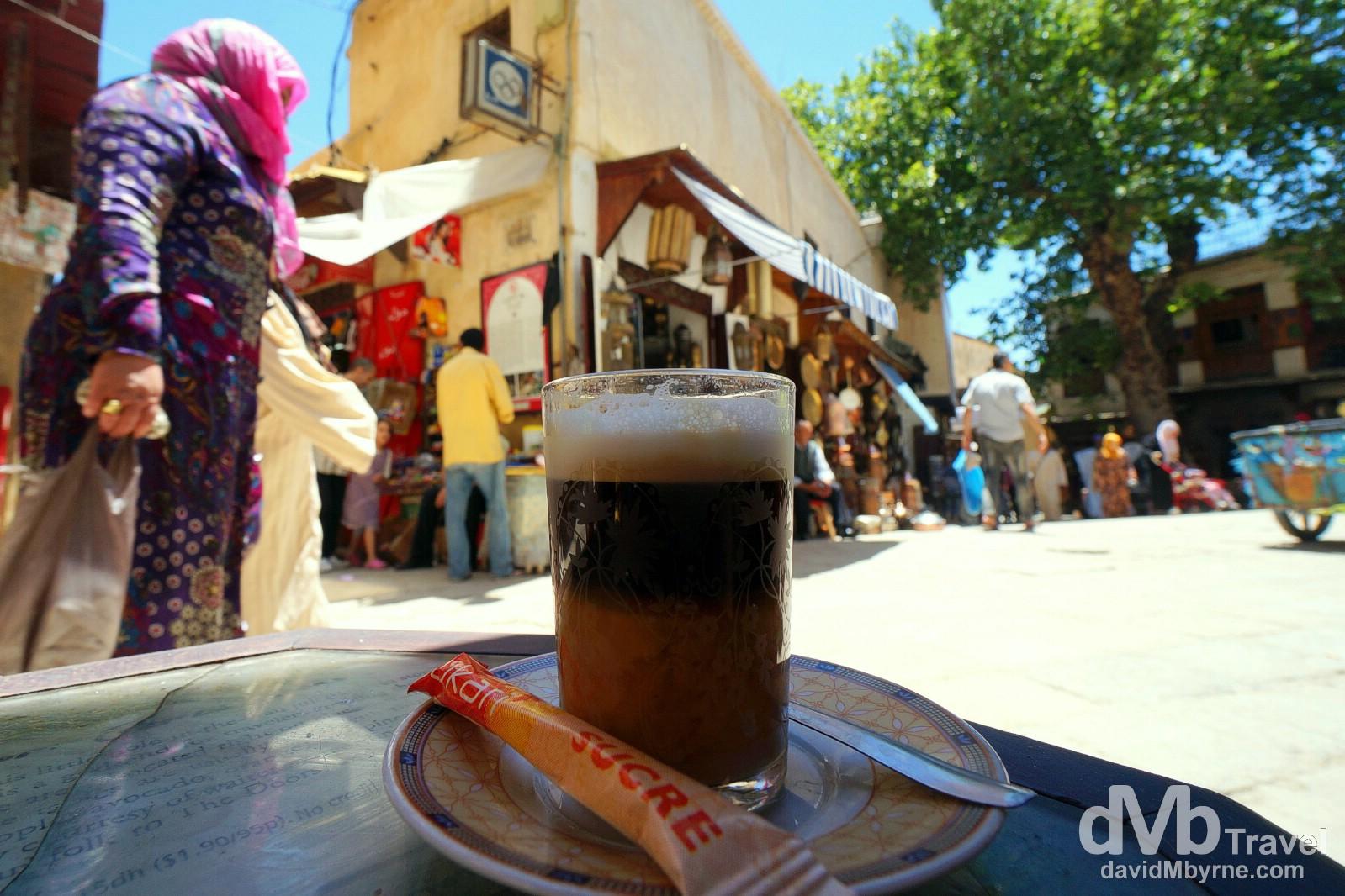 Cafe au lait in Cremerie la Place, Place Saffarine, Fes el Bali, Fes, Morocco. May 29th, 2014.