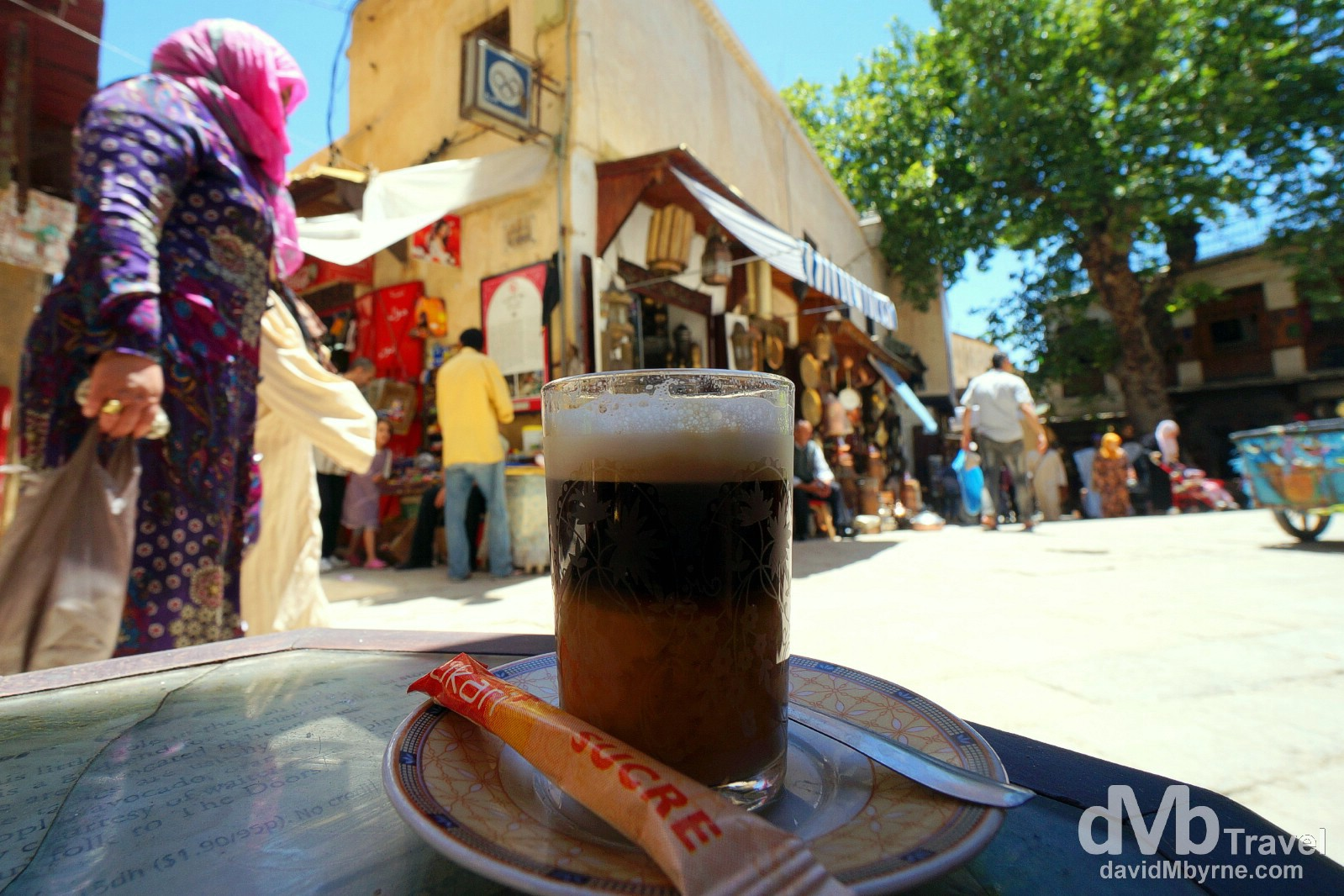 Cafe au lait in Cremerie la Place, Place Saffarine, Fes el Bali, Fes, Morocco. May 29th, 2014.