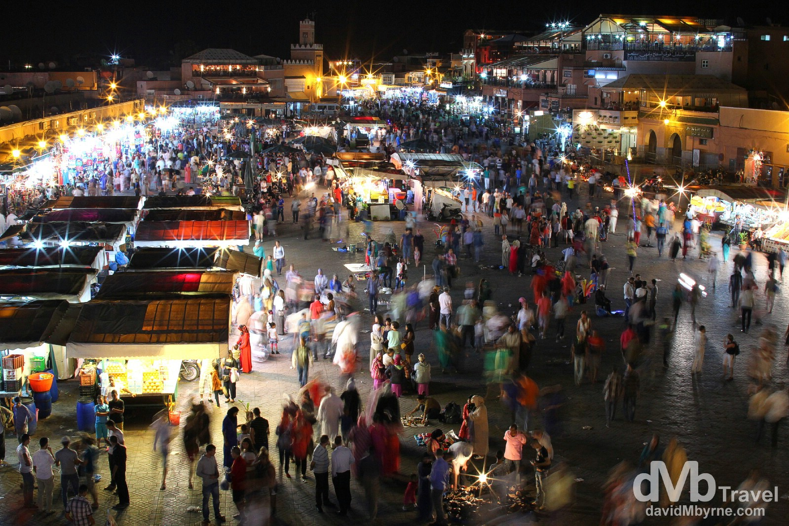 A section of the Djemma El-Fna in Marrakesh, Morocco, as seen from the veranda of the Café du Grand Balcon. May 11th, 2014.