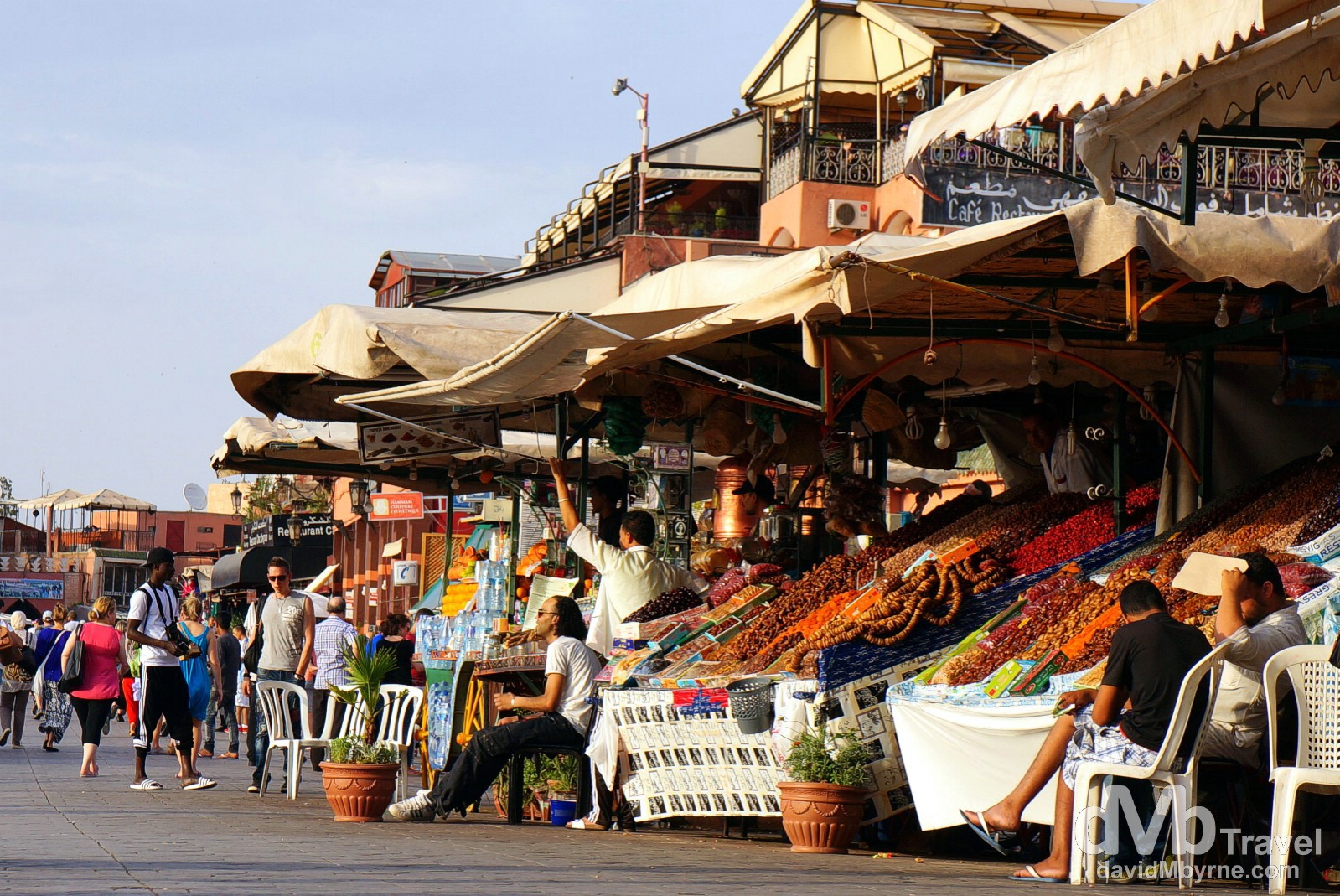 Stalls lining a portion of Djemma El-Fna in Marrakesh, Morocco. May 5th, 2014.