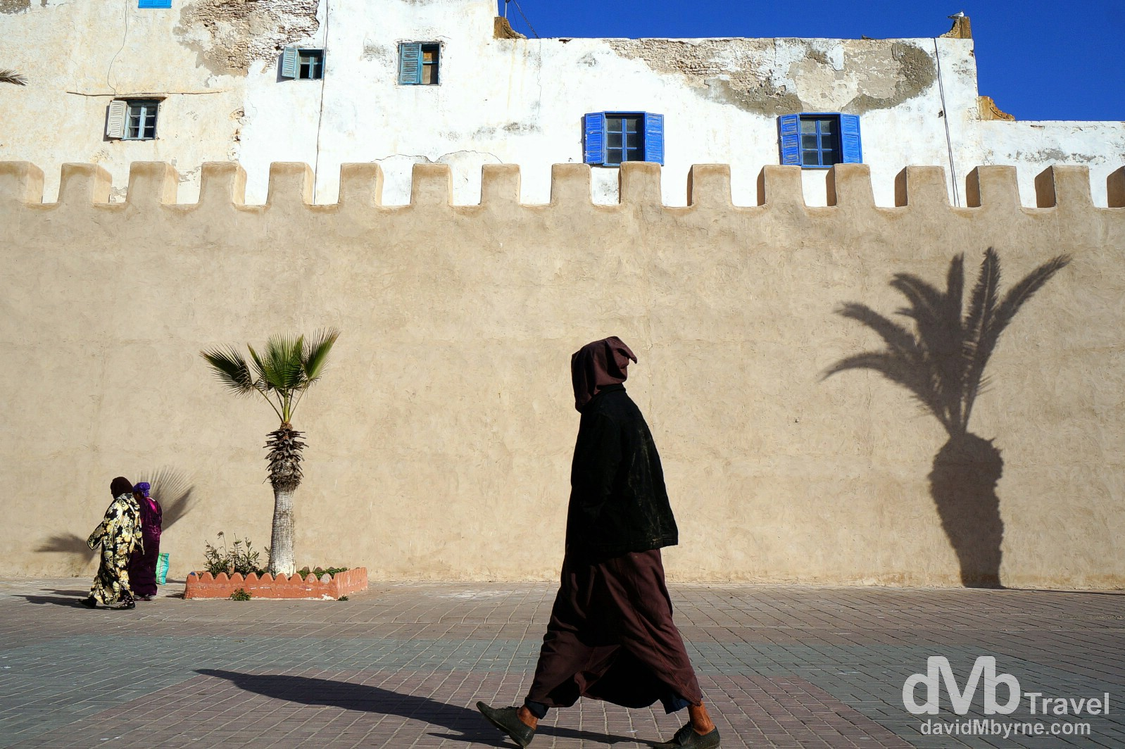 Walking outside the walls of the UNESCO World Heritage listed medina in Essaouira, Morocco. May 3rd, 2014.