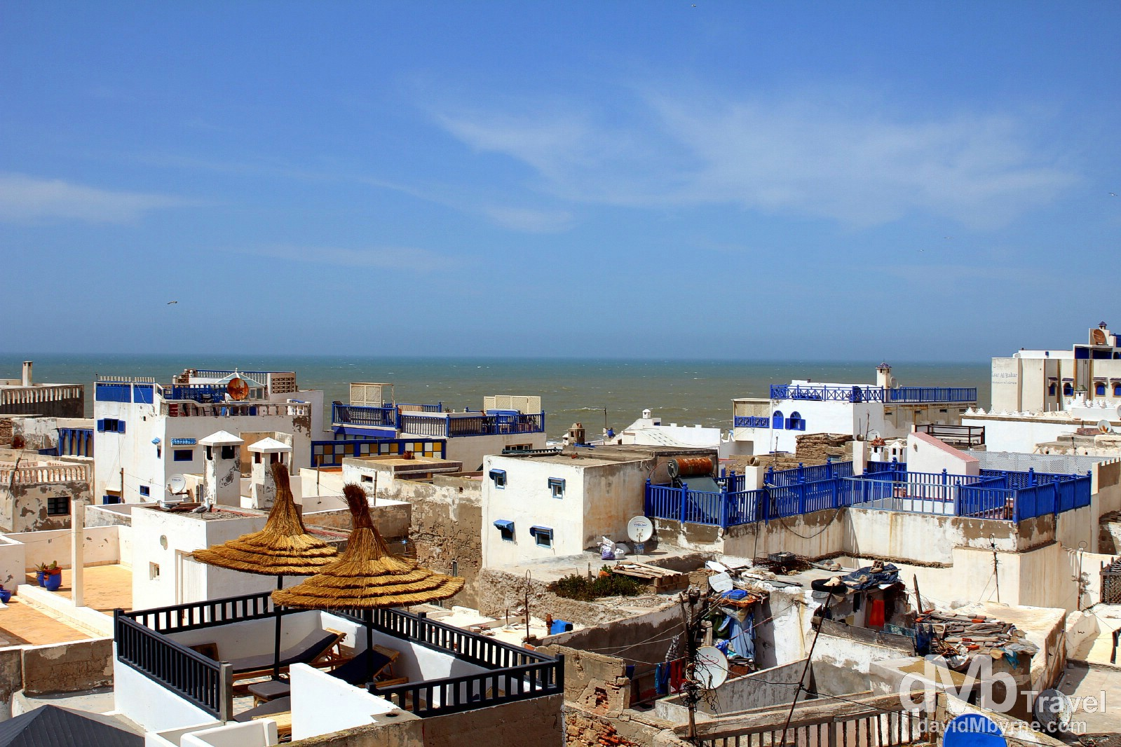 Rooftops of the median and the Atlantic Ocean as seen from the terrace of Raid El Pacha, Essaouira, Morocco. May 2nd, 2014.