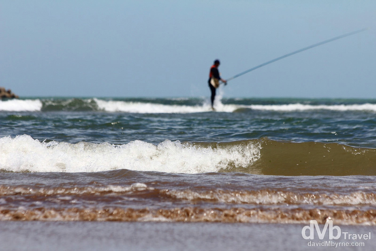 Fishing offshore of the beach in El Jadida, Morocco. May 1st, 2014.