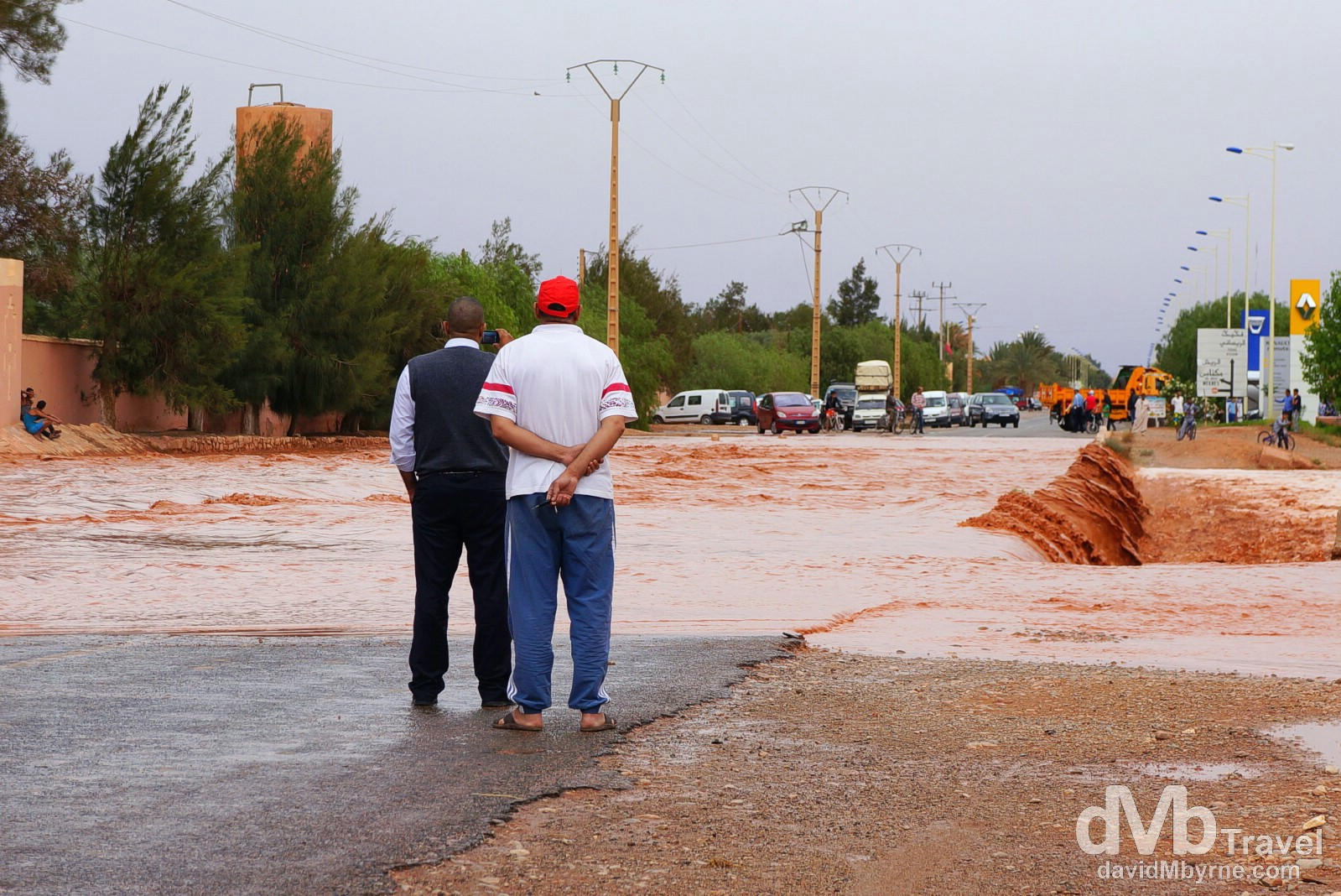 Road floods outside the town of Er Rachidia, Morocco. May 17th, 2014.
