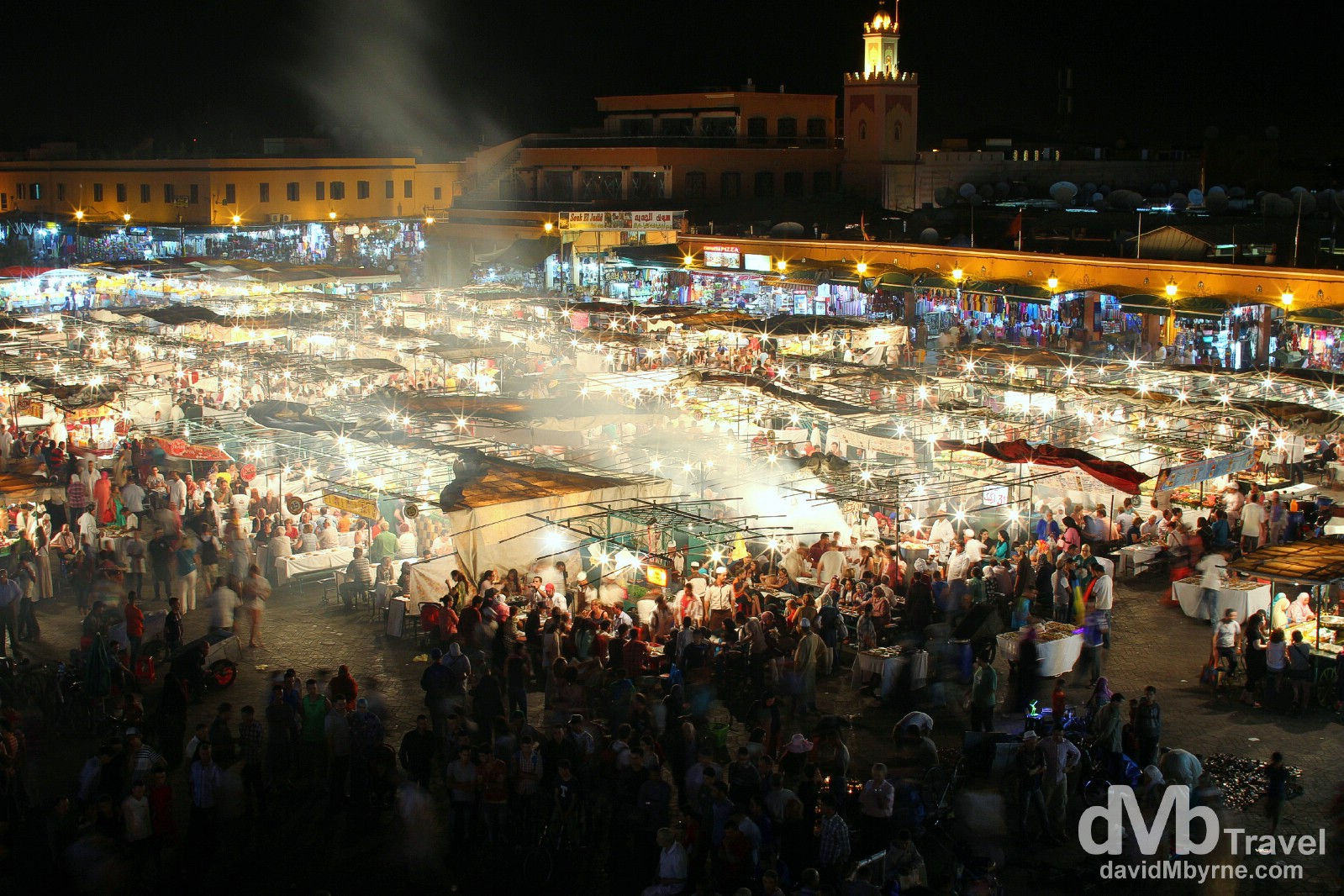 The food stalls erected nightly in the centre of the Djemma El-Fna, Marrakesh, Morocco. May 11th, 2014.