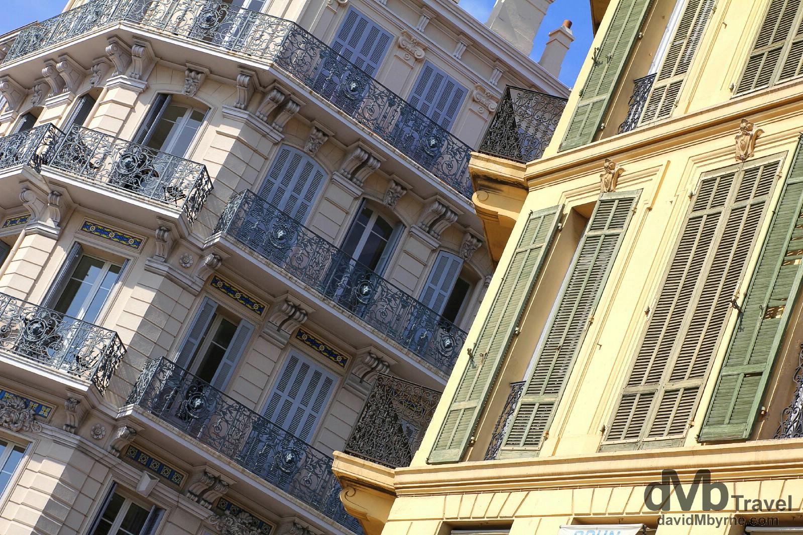 Buildings on Rue Felix Faure in Cannes, Côte d'Azur, France. March 15th, 2014.