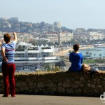 Viewing the Baie de Cannes from Le Suquet (Old Town), Cannes, Côte d'Azur, France. March 15th, 2014.
