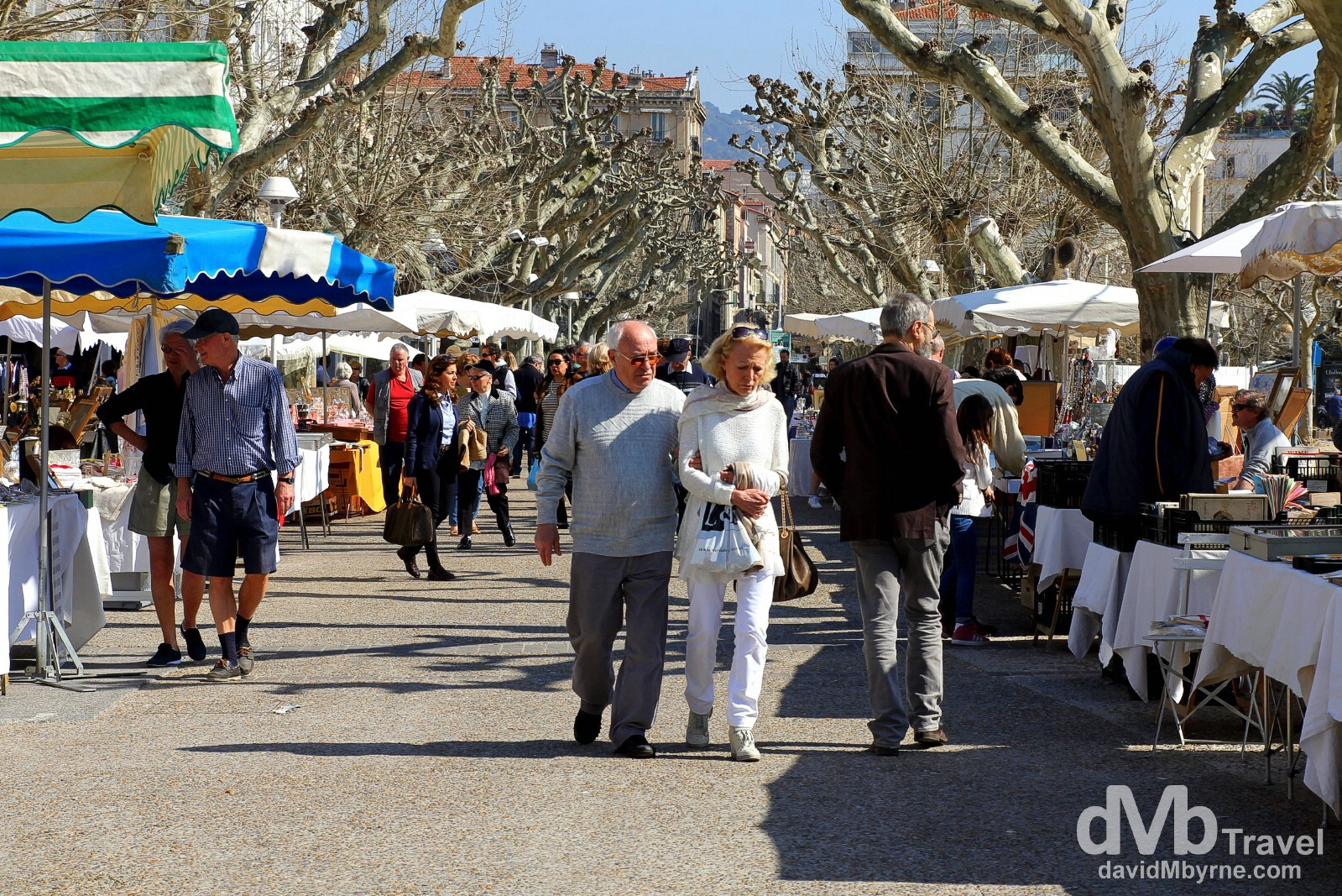 Arts & crafts market in Square Lord Brougham, Cannes, Côte d'Azur, France. March 15th, 2014.