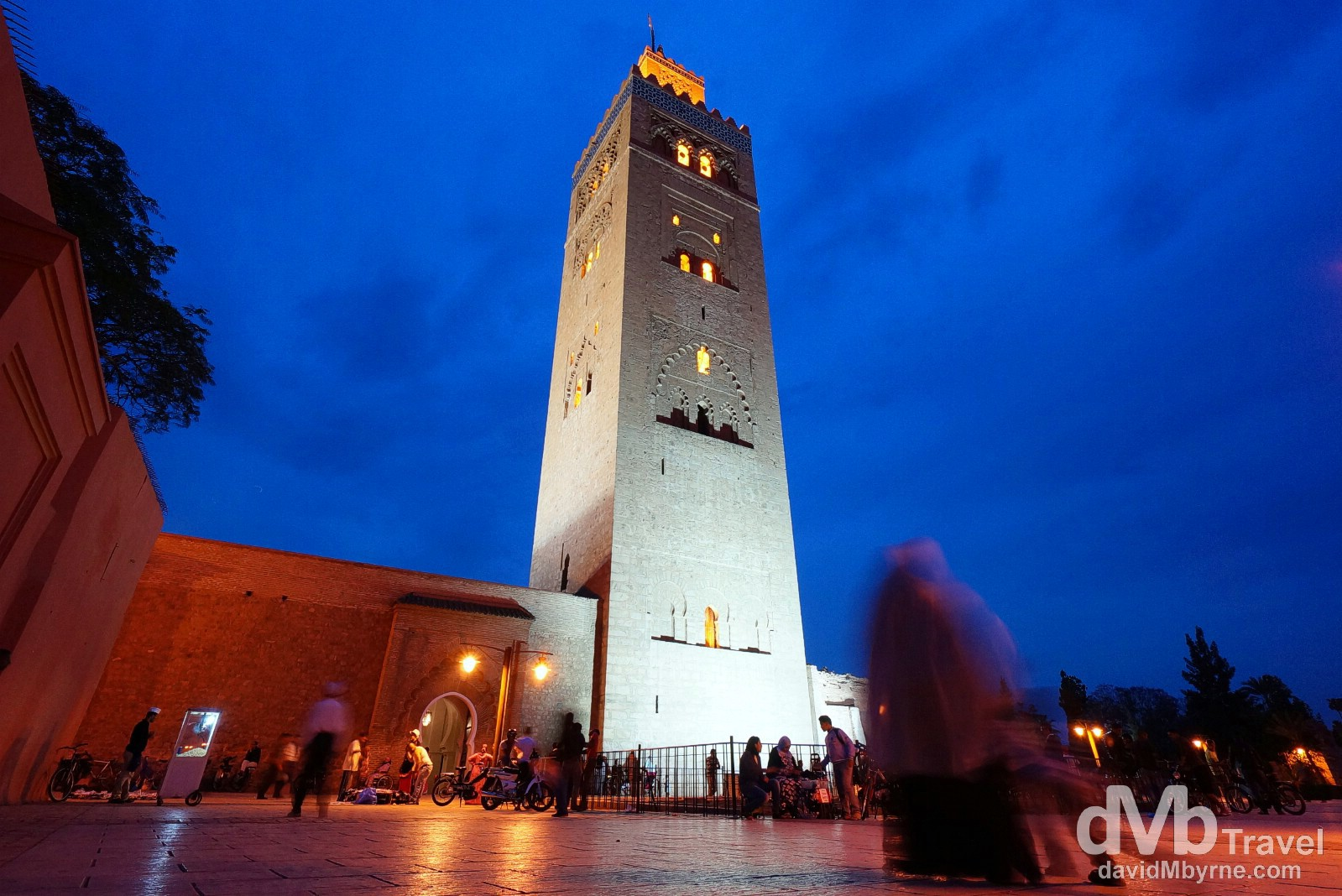 Outside the Koutoubia Mosque shortly after dusk in Marrakesh, Morocco. May 6th, 2014.
