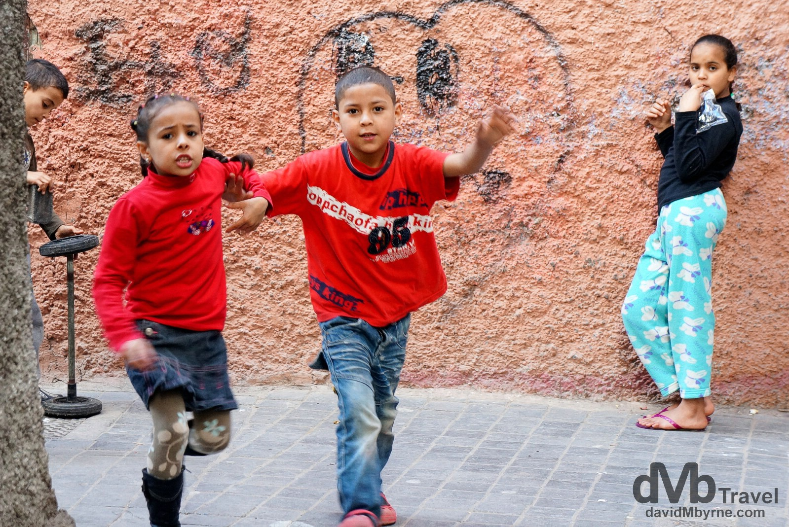 Kids in the lanes of the Ancienne Medina, Casablanca, Morocco. April 28th, 2014.