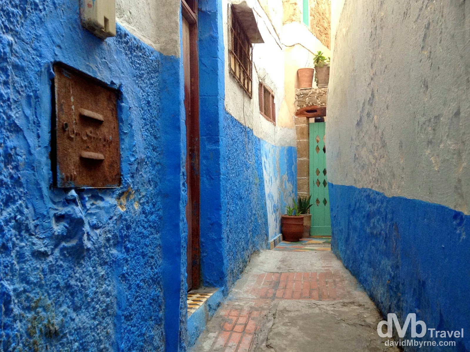 Tight residential lane in the medina of Essaouira, Morocco. May 2nd, 2014.
