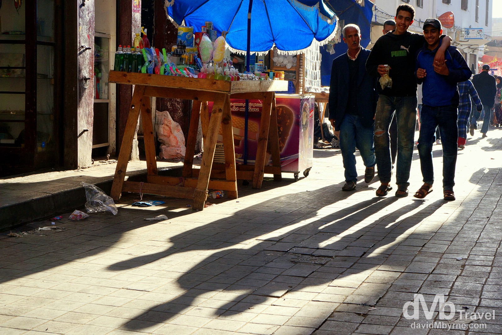 Shadows & bromance in the lanes of the Ancienne Medina in Casablanca, Morocco. April 28th, 2014.