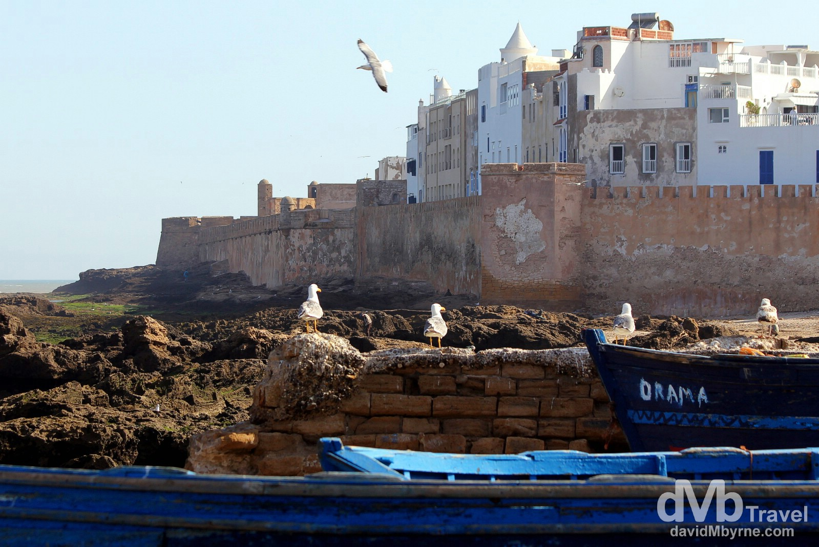 The Atlantic-fronting walls of the medina as seen from the port in Essaouira, Morocco. May 3rd, 2014.