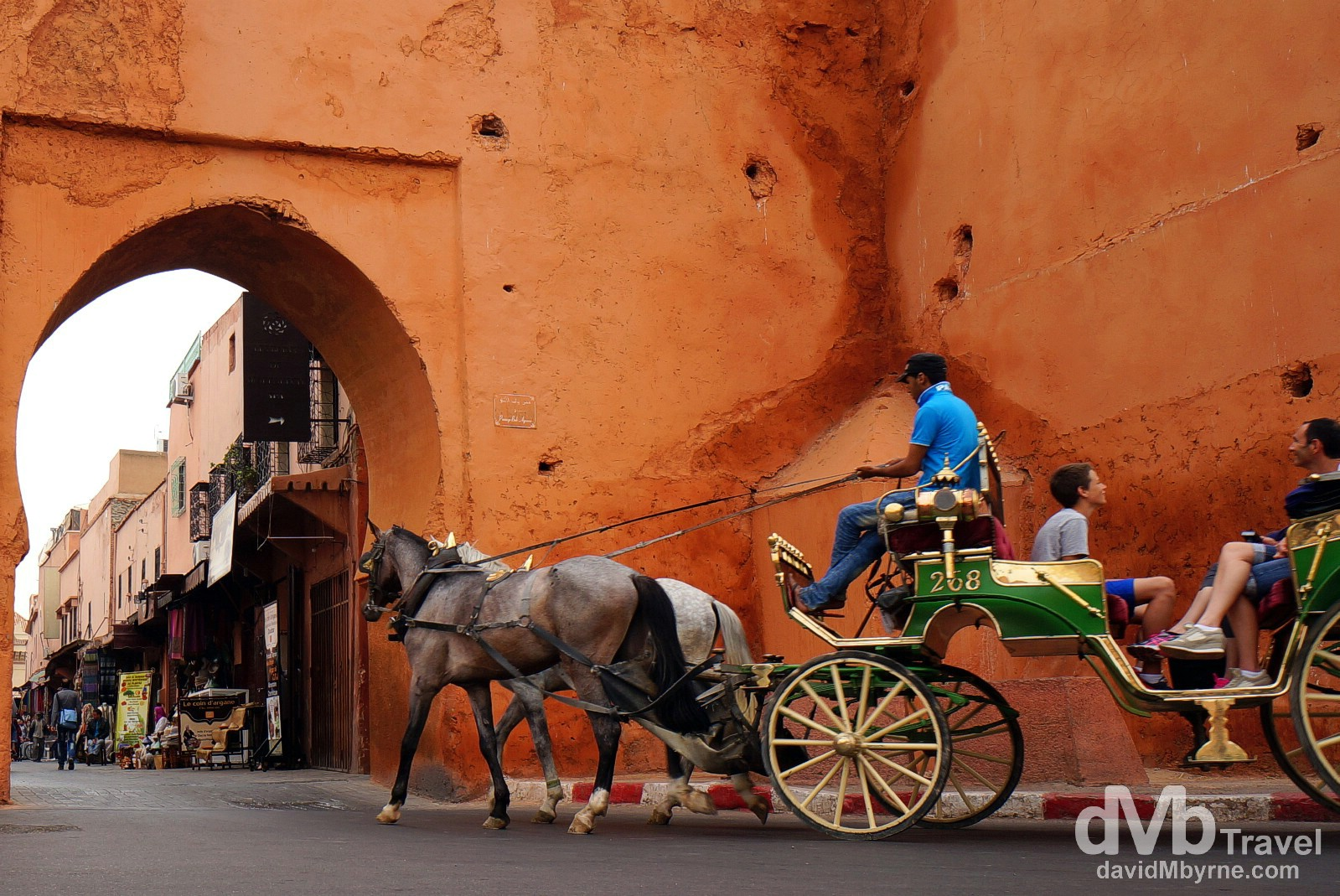 Entering the walls of the UNESCO-listed medina near the Bab Agnaou Gate in Marrakesh, Morocco. May 6th, 2014.