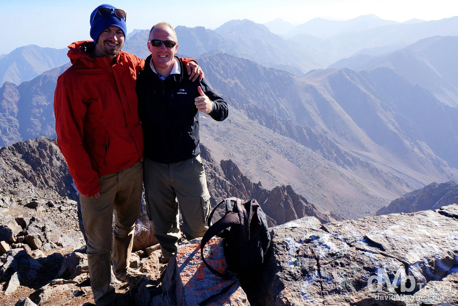 On the 4,176-metre summit of Jebel Toubkal, the highest point in Northern Africa. Jebel Toubkal, High Atlas, central Morocco. May 12th, 2014.