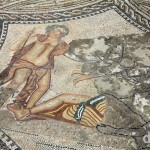 The mosaic Dionysos Discovering Ariadne in the Knight's House at the UNESCO-listed Roman site of Volubilis, northern Morocco. May 25th, 2014.