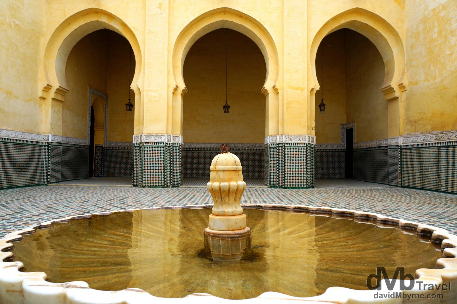 A courtyard of the Moulay Ismail Mausoleum in Meknes, Morocco. May 24th, 2014.