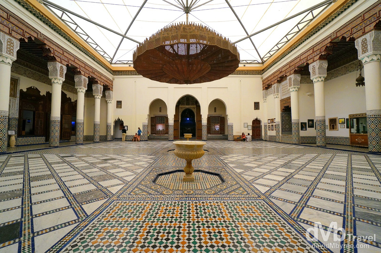 The arcaded inner courtyard of Mnebhi Palace, home to the Musee de Marrakech, Morocco. May 6th, 2014.