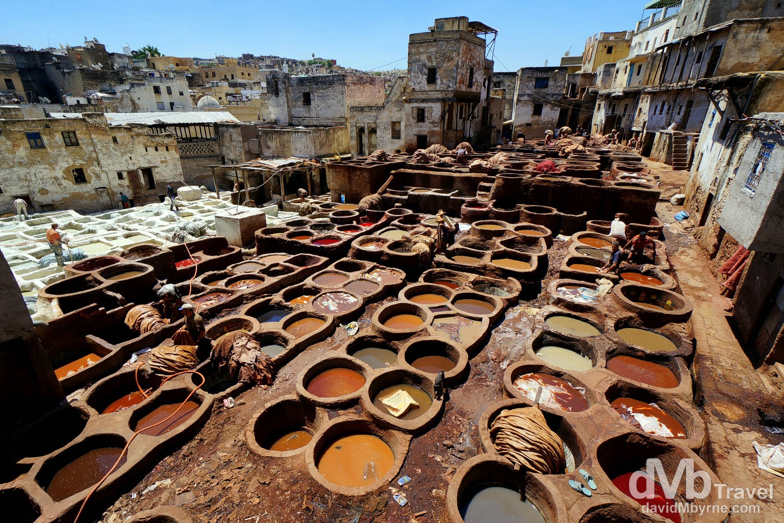 An overview of the Tanneries Chouwara, Fes el Bali, Fes, Morocco. May 29th, 2014.