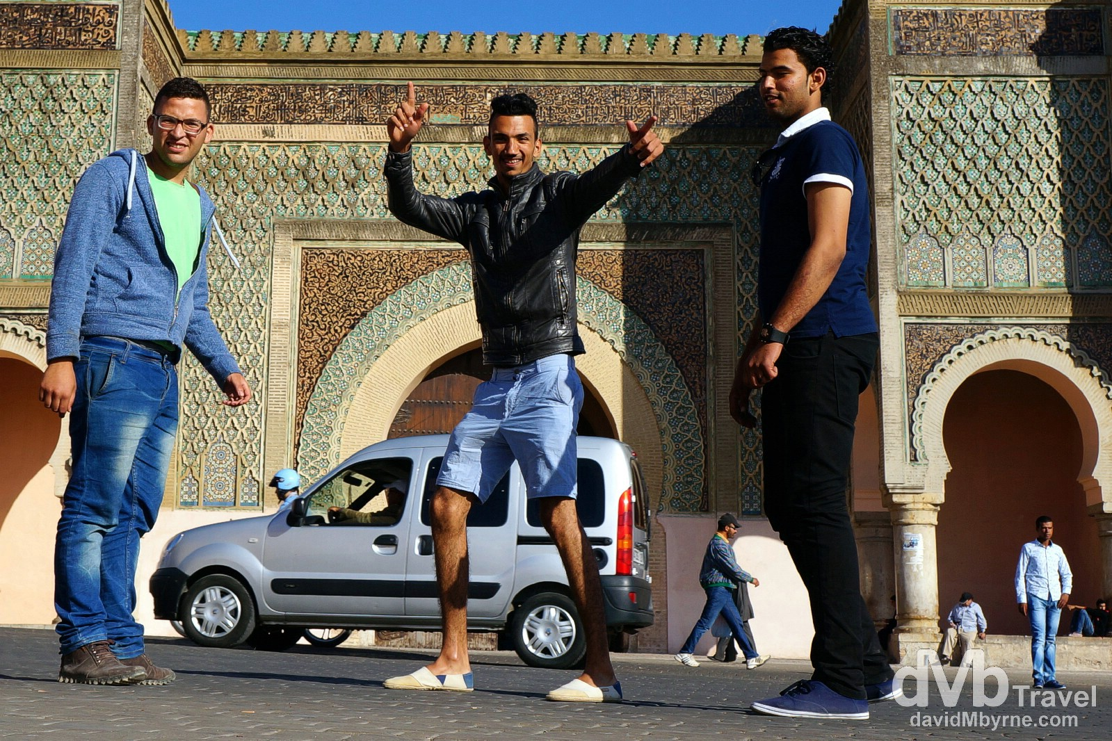 Photobomb in front of the gateway Bob Mansour in Meknes, Morocco. May 23rd, 2014.