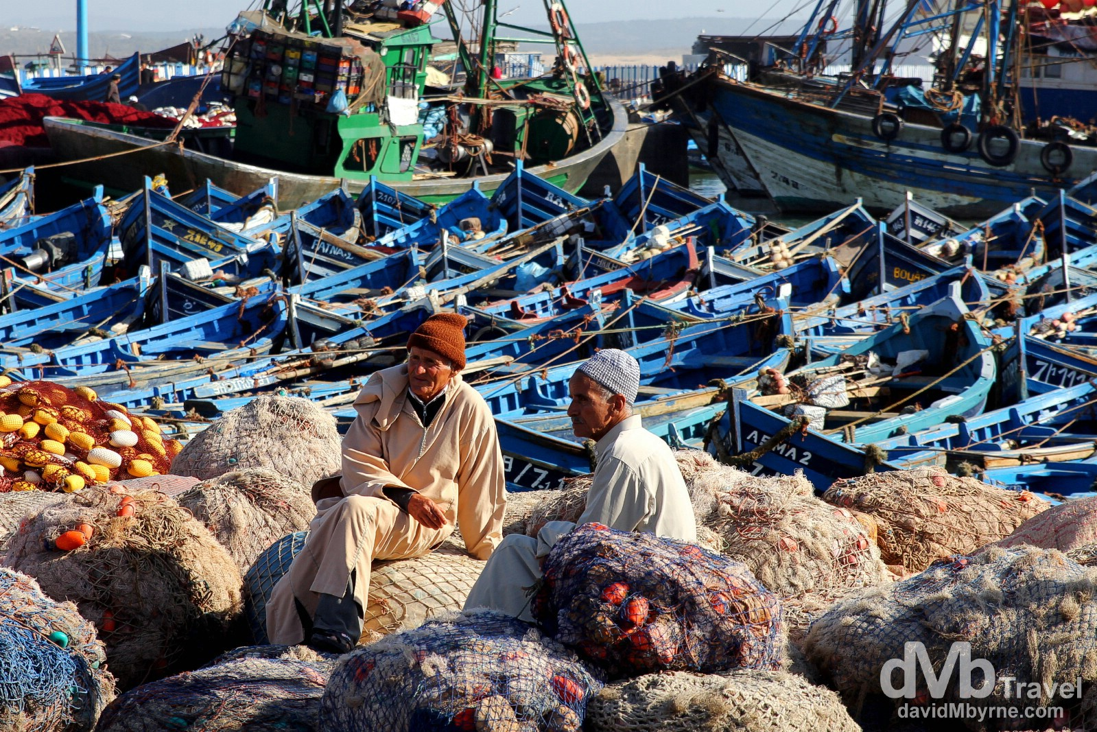 Locals sit on the nets in the port in Essaouira, Morocco. May 3rd, 2014.