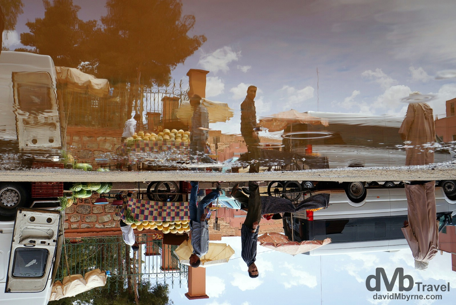 Reflections on the streets of Tinerhir, Morocco. May 17th, 2014.