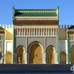One of the impressive entrance gates to the Royal Palace in Fes el Djedid, Fes, Morocco. May 28th, 2014.