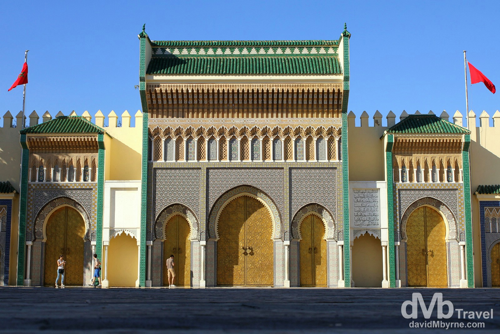 One of the impressive entrance gates to the Royal Palace in Fes el Djedid (New Fes), Fes, Morocco. May 28th, 2014.