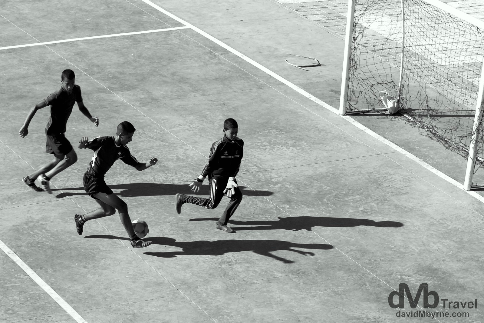 Playing soccer as seen from the ramparts of the Cite Portugaise, El Jadida, Morocco. April 29th, 2014.
