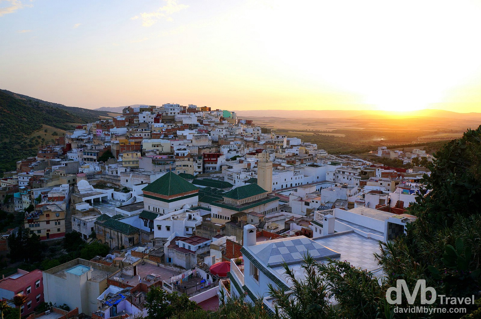 Sunset as seen from the grand terrase (grand terrace) in Moulay Idriss, Morocco. May 26th, 2014.