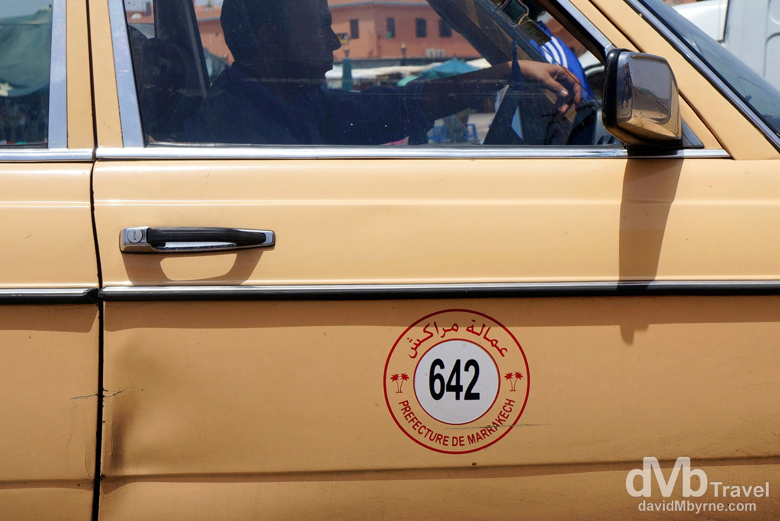 A Prefecture of Marrakech taxi on the streets of Marrakech, Morocco. May 8th, 2014.